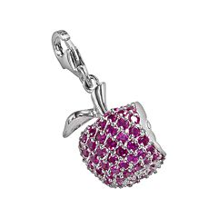 Sterling Silver Lab-Created Ruby Apple Charm