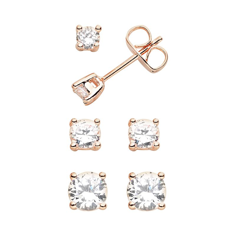 18k Rose Gold Plated Cubic Zirconia Stud Earring Set