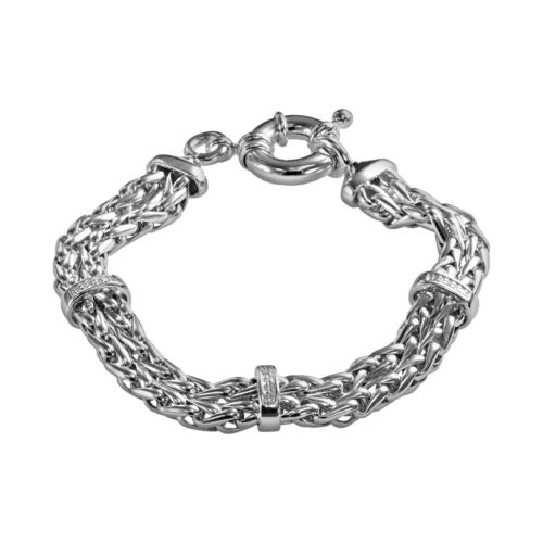 Sterling Silver Diamond Accent Spiga Chain Bracelet