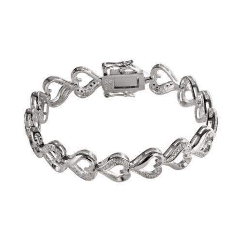 Sterling Silver 1/10-ct. T.W. Diamond Heart Bracelet
