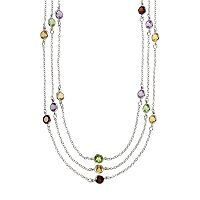 Sterling Silver Gemstone Multistrand Station Necklace