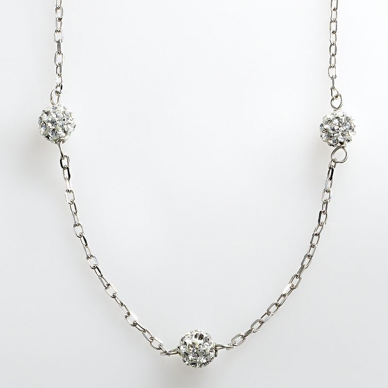 Sterling Silver Crystal Ball Station Necklace