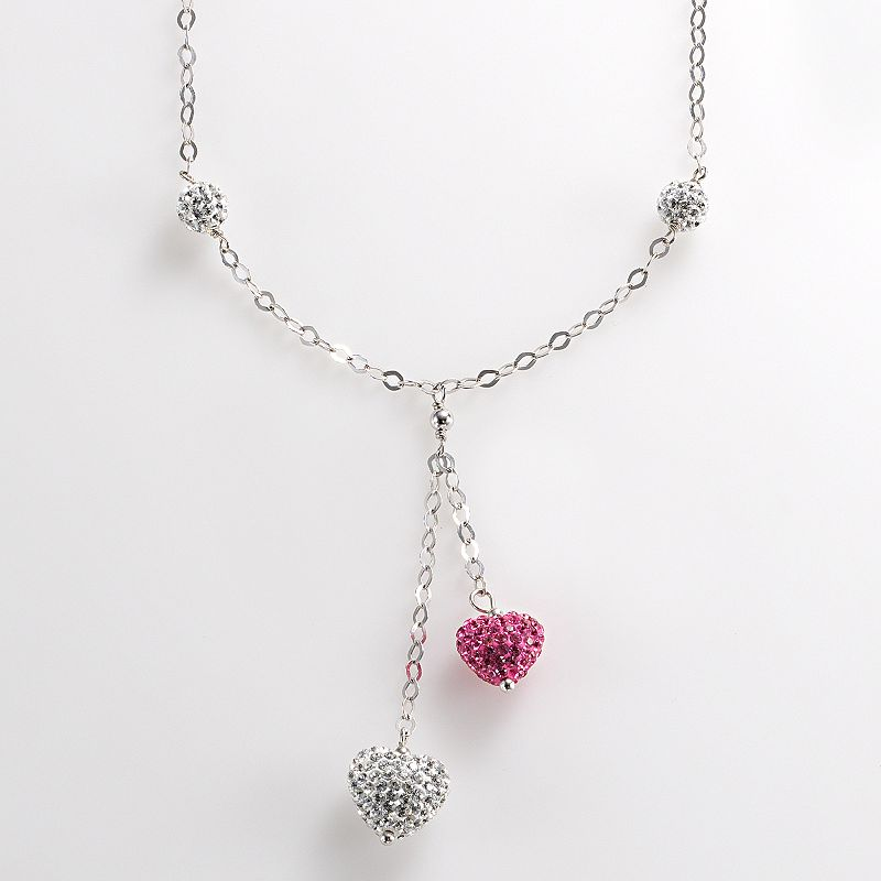 Sterling Silver Pink and White Crystal Heart Necklace