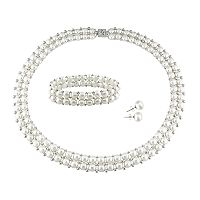 Sterling Silver Freshwater Cultured Pearl Necklace, Stretch Bracelet & Stud Earring Set