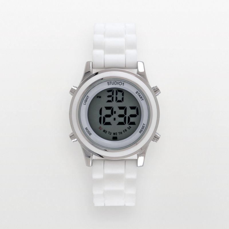 Studio Time Silver Tone White Silicone Digital Chronograph Watch