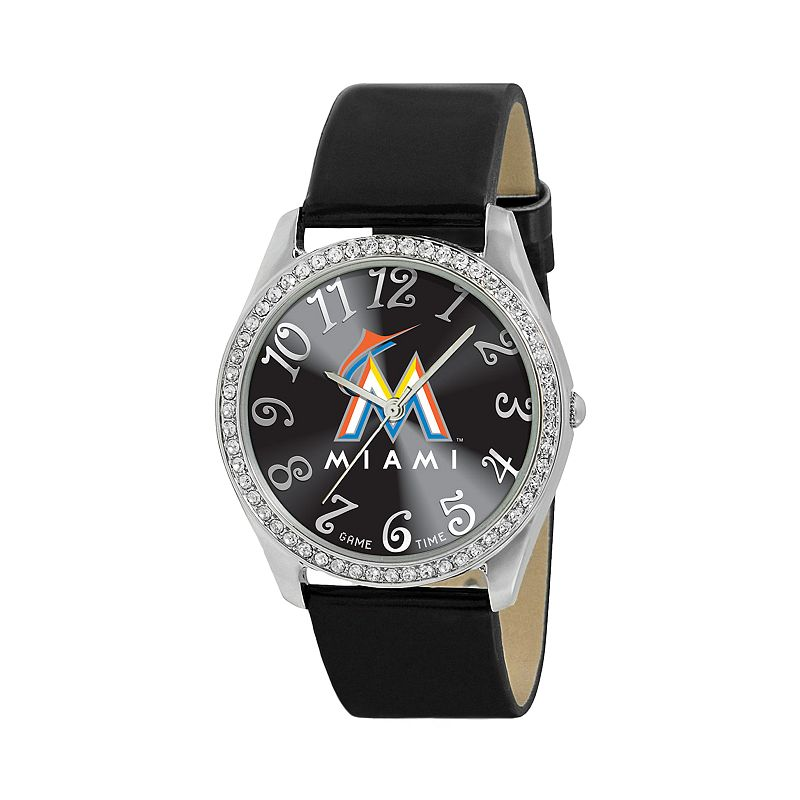 Game Time Glitz Miami Marlins Silver Tone Simulated Crystal Watch - MLB-GLI-MIA - Women