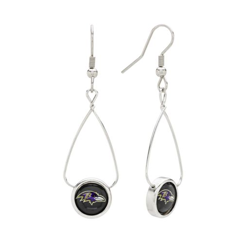 Baltimore Ravens Silver Tone French Loop Logo Drop Earrings