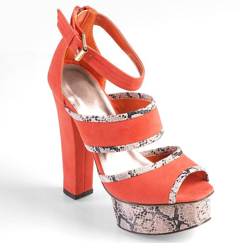 Journee Collection Floral Women's Peep-Toe Platform High Heels