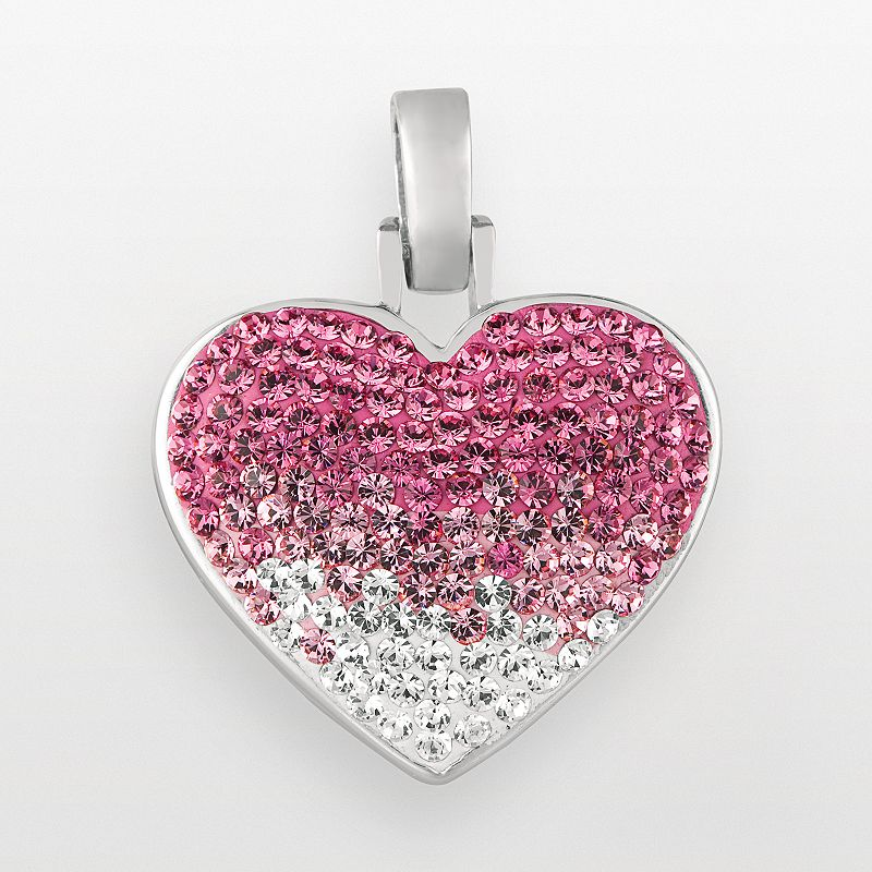 Sterling Silver Pink and White Crystal Heart Pendant
