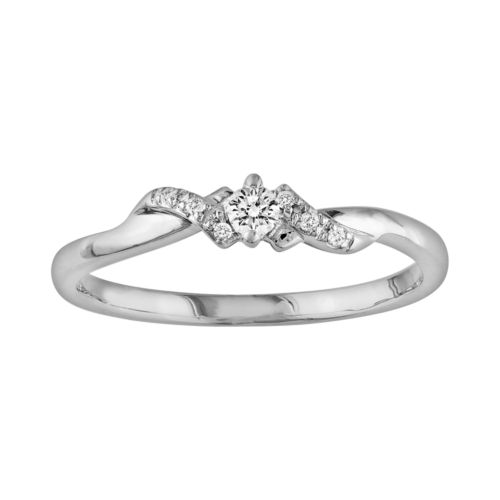 10k White Gold 1/10-ct. T.W. Diamond Swirl Ring