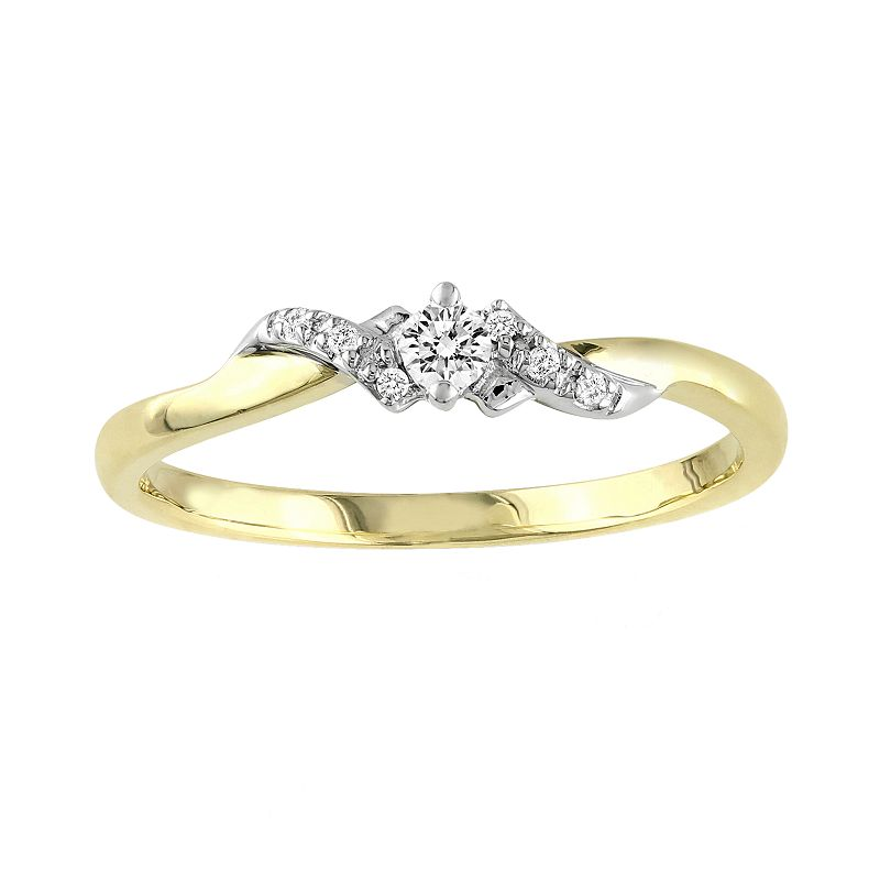 Round-Cut Diamond Swirl Engagement Ring in 10k Gold Two Tone (1/10 ct. T.W.)