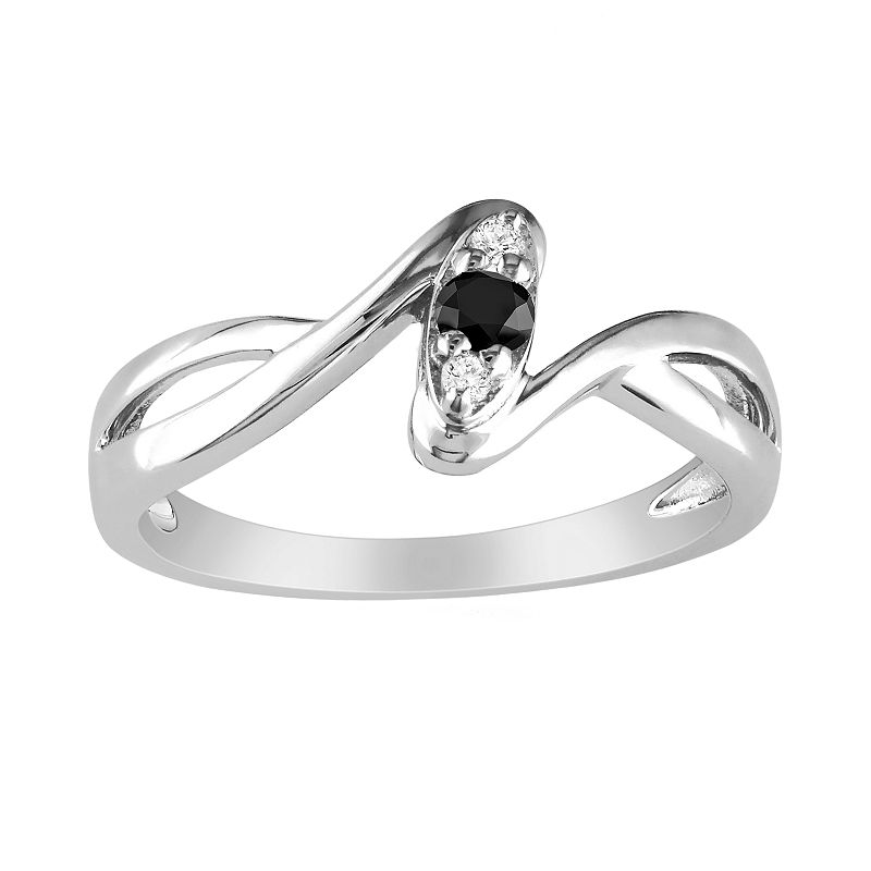 Sterling Silver 1/10-ct. T.W. Black and White Diamond Bypass Ring