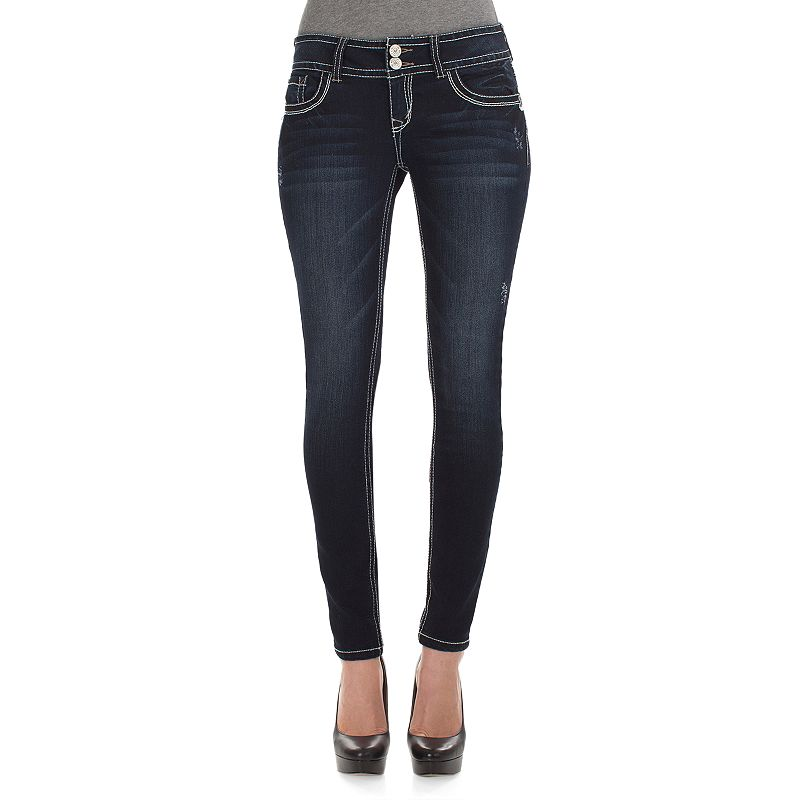 Juniors' Wallflower Gem Curvy Skinny Jeans