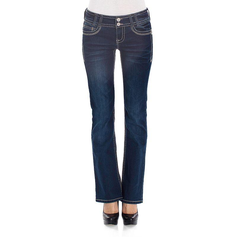 Juniors' Wallflower Rhinestone Curvy Bootcut Jeans