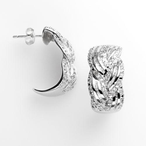 Silver Plated 1-ct. T.W. Diamond Braided J-Hoop Earrings