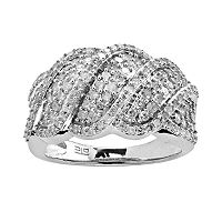 Silver Plated 1-ct. T.W. Diamond Wave Ring