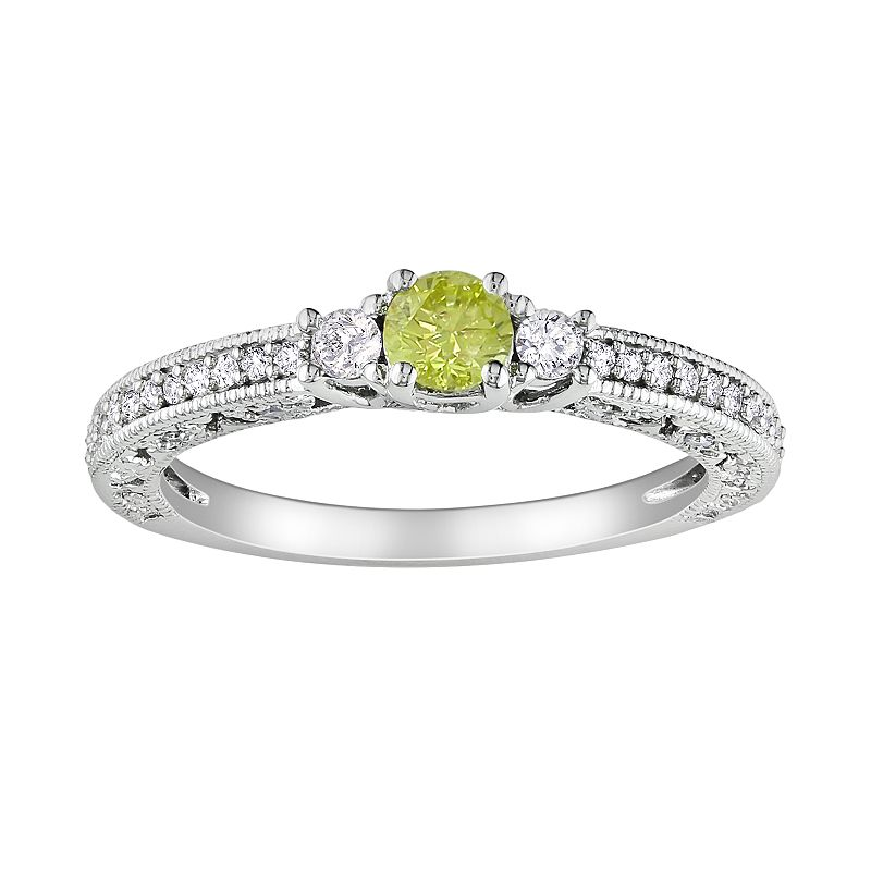 Round-Cut Yellow and White Diamond Engagement Ring in 14k White Gold (1/2 ct. T.W.)