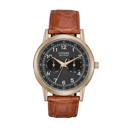 Citizen Eco-Drive Rose Gold Tone Stainless Steel Leather Watch - AO9003-08E - Men