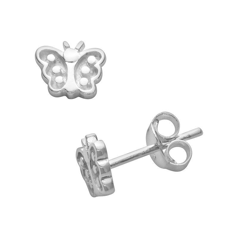 Itsy Bitsy Sterling Silver Butterfly Stud Earrings