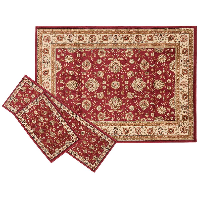 KHL Rugs Traditional Floral 3-pc. Rug Set - 5' x 7'