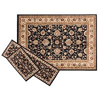 KHL Rugs Traditional Black Floral 3-pc. Rug Set