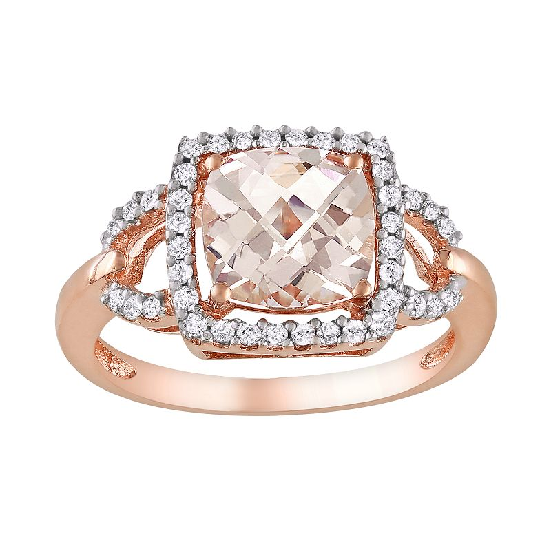 10k Rose Gold 1/5-ct. T.W. Diamond and Morganite Ring