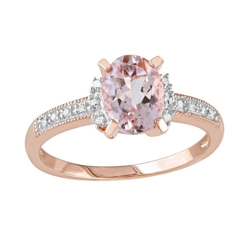 14k Rose Gold Over Sterling Silver 1/7-ct. T.W. Diamond and Morganite Ring