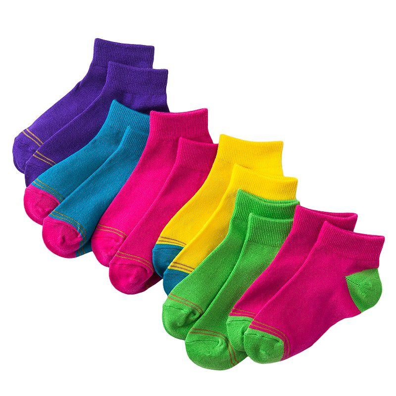 GOLDTOE 6-pk. Neon 1/4-Crew Socks - Girls