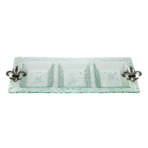 Thirstystone Fleur-de-Lis Hammered Glass 3-Section Tray