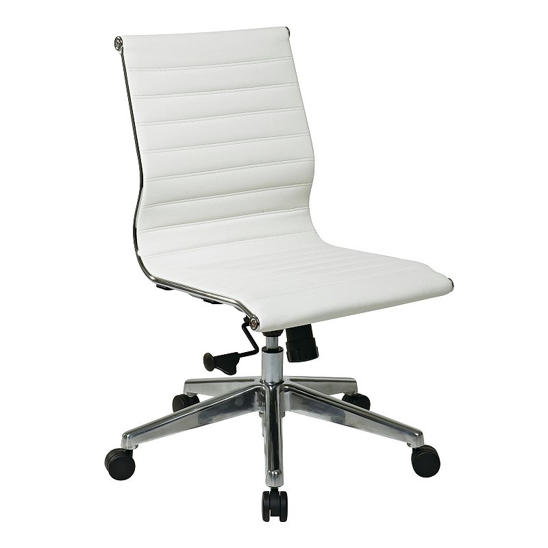 Office Star Products Mid-Back Eco-Leather Armless Chair
