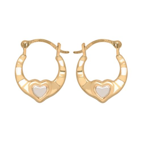 14k Gold Two Tone Heart Hoop Earrings - Kids