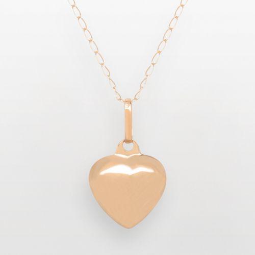 14k Gold Puffed Heart Pendant - Kids