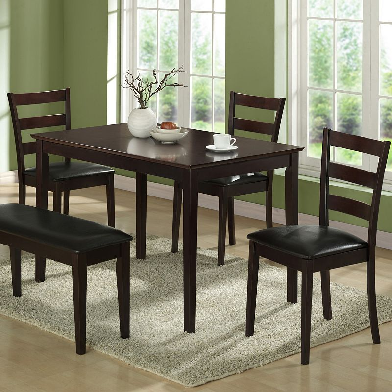 MONARCH 5 PC DINING TABLE CHAIRS SET BROWN
