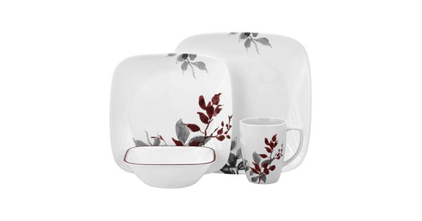 Kohl S Wedding Registry: Corelle Lifestyles Kyoto Leaves Square 16-pc. Dinnerware Set