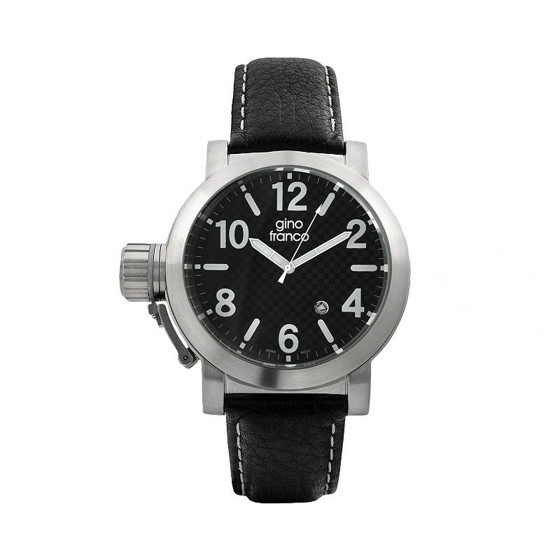 Gino Franco Men's Westside Lefty Leather Watch - 9617BK