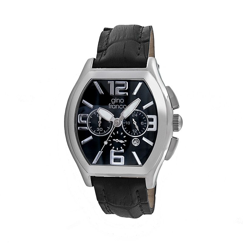 Gino Franco Men's Deco Leather Chronograph Watch - 9655BK