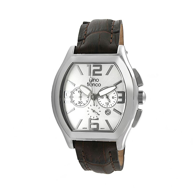 Gino Franco Men's Deco Leather Chronograph Watch - 9655BR
