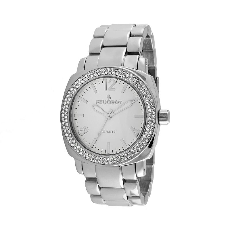 Peugeot Silver Tone Crystal Watch - Made with Swarovski Crystals - 7075S - Women
