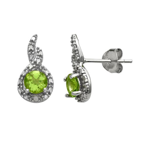 Sterling Silver Peridot and Diamond Accent Twist Frame Stud Earrings