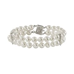 14k White Gold Freshwater Cultured Pearl & Diamond Accent Multistrand Bracelet by