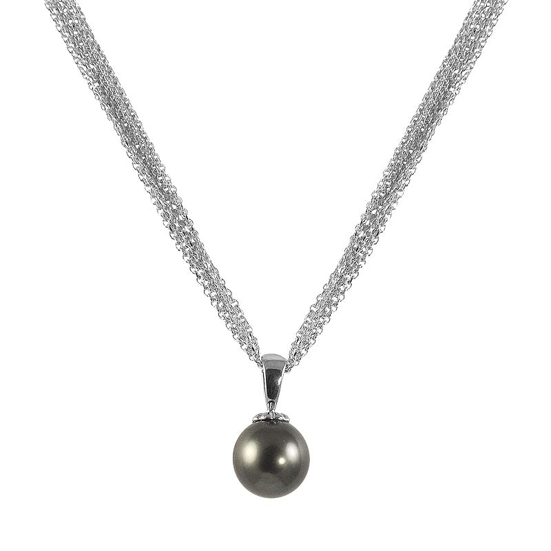 14k White Gold Tahitian Cultured Pearl Pendant
