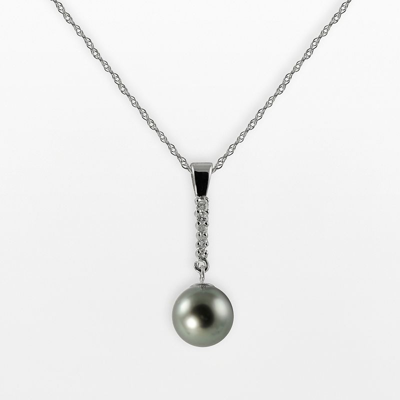 14k White Gold .135-ct. T.W. Diamond and Tahitian Cultured Pearl Pendant