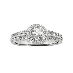 Round-Cut IGL Certified Diamond Frame Engagement Ring in 10k White Gold (1/2 ct. T.W.) by