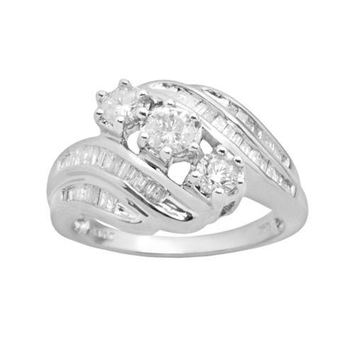 Round-Cut Diamond Bypass Engagement Ring in 10k White (Gold 1-ct. T.W.)
