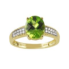14k Gold Peridot & 1/10 Carat T.W. Diamond Ring by