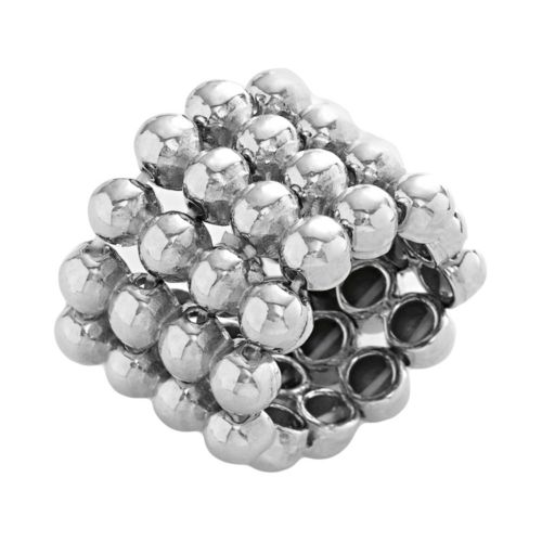 Silver Tone Multirow Stretch Ring