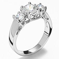 Silver Tone Simulated Crystal 3-Stone Ring