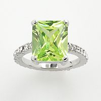 Silver ToneSimulated Peridot& Cubic Zirconia Ring