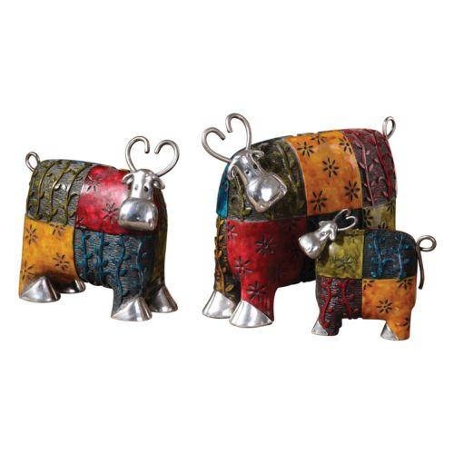 3-pc. Colorful Cows Decor Set