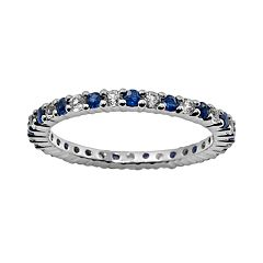 10k White Gold Blue & White Sapphire Eternity Wedding Ring by